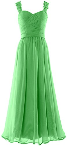 MACloth Women Long Prom Dress Lace Straps Formal Evening Gown with Open Back Menta