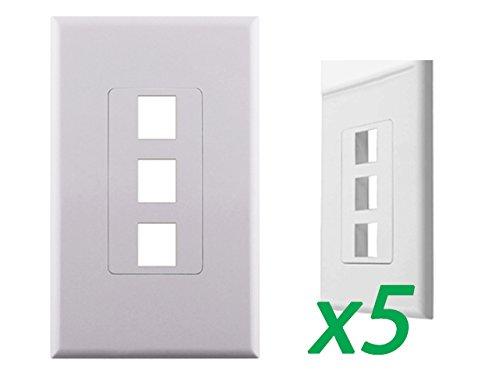 5 xホワイト1-gang Screwlessデコラ壁プレートカバーW/3 - Port Keystoneジャック挿入 B07DD4LD75