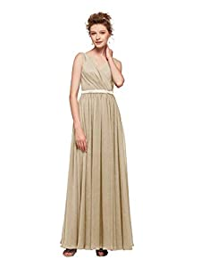 AWEI Women's V-Neck Bridesmaid Dresses Long Formal Dresses Chiffon Evening Gowns Modest