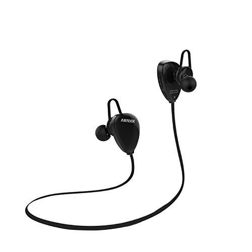 Arteck Wireless Bluetooth Headphones for Running Sports Portable Earphones with Rechargeable 15 Hours Playing Battery for iPhone Xs Max, Xs, Xr, X, 8 Plus, 7, SE, 6, iPod, Android Smart Phones-Black
