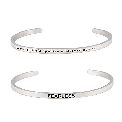 ICE GIRL Inspirational Bracelets Gifts for Women Stainless Steel Inspired Cuff Bracelets Funny Quotes Bangle Hand Stamped Fearless Bracelet