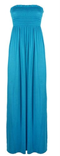 Women's Plain Sheering Bandeau Boob tube Gather Strapless Maxi Dress (ML, TURQUOISE) -