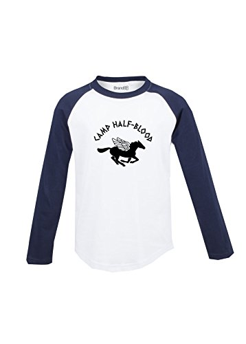 Brand88 Camp Half-Blood, Kids L/S Baseball T - White & Navy 7-8yr (Olympus Ls 7)