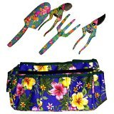 WORLD'S BEST MOM-MOTHER'S DAY GIFT - HIGH QUALITY 5 PIECE FLORAL GARDEN HAND TOOLS WITH FLOWER DESIGN BAG, CULTIVATOR, SPADE, 2 PRUNERS - WITH FREE TOOL BELT {jg}