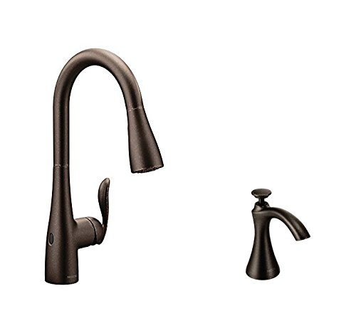 Moen 7594EWORB Arbor Motionsense Wave Touchless One-Handle High Arc Pulldown Kitchen Faucet Featuring Reflex, Oil Rubbed Bronze with Kitchen Soap and Lotion Dispenser