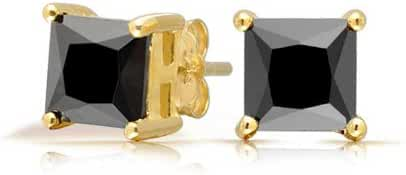 Bling Jewelry Simulated Onyx Square CZ Gold Plated Stud Earrings 925 Silver 5mm