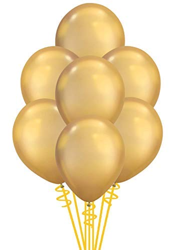 Qualatex Solid Shine Chrome Gold Biodegradable Latex Balloons, 11-Inches, 100-Units per pack (1-Pack) -