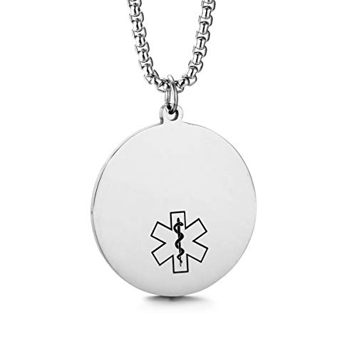 JF.JEWELRY Customize Stainless Steel Round Medical Alert ID Round Dog Tag Pendant Necklace for Men and Women-Silver