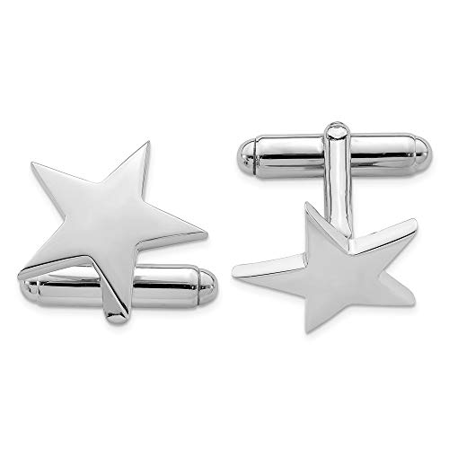 (925 Sterling Silver Star Cuff Links Mens Cufflinks Man Link Fine Jewelry Gift For Dad Mens For Him)