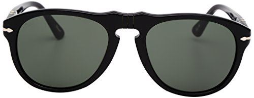 (Persol Mens 0PO0649 95/58  Square Sunglasses,Black Frame/Green Lens,52)