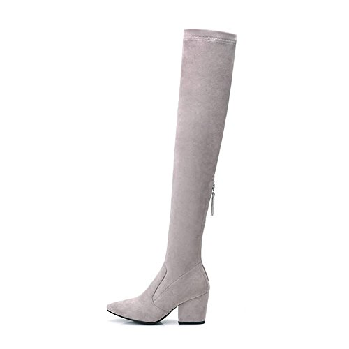 zipper The Over Women's Grey Knee inside Boots DecoStain wxXOEanqx