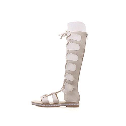 Femme Arrière Supérieur Glissière PU Hautes Sandales Abricot Été D'étudiant Chaussures Talon Bottes Plat 0wEUqU5