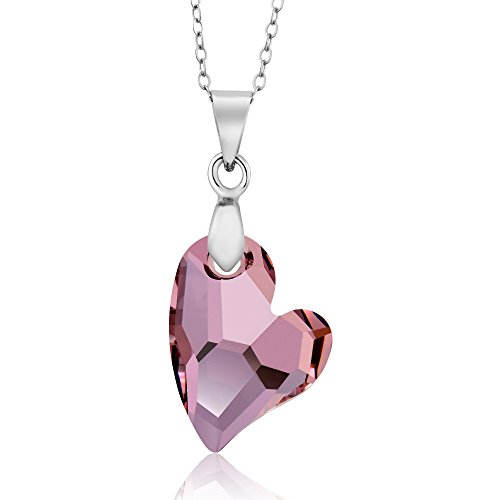 Antique Pink Heart Pendant Necklace with Chain Created with Swarovski Crystals Antique Heart Pendant