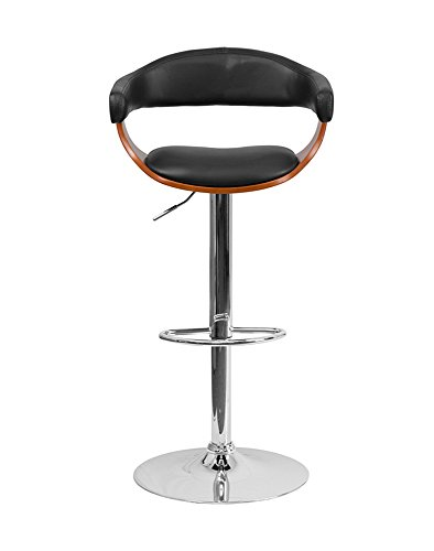 Offex OFX-400251-FF Walnut Bentwood Adjustable Height Barstool with Black Vinyl ()