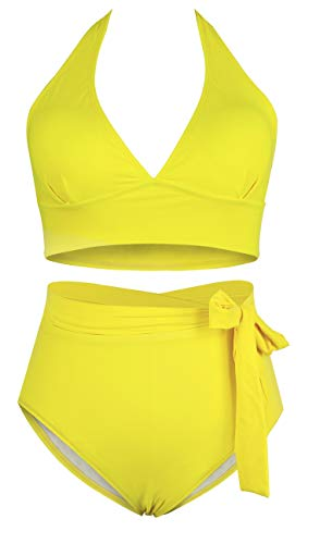 Wide-halter-strap bright yellow