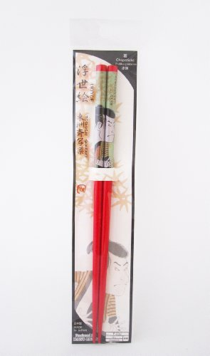 Beautiful Original Japan Traditional Plastic Chopstick Souvenir (Men Design) (22.5 cm., Red) by Daiso Japan