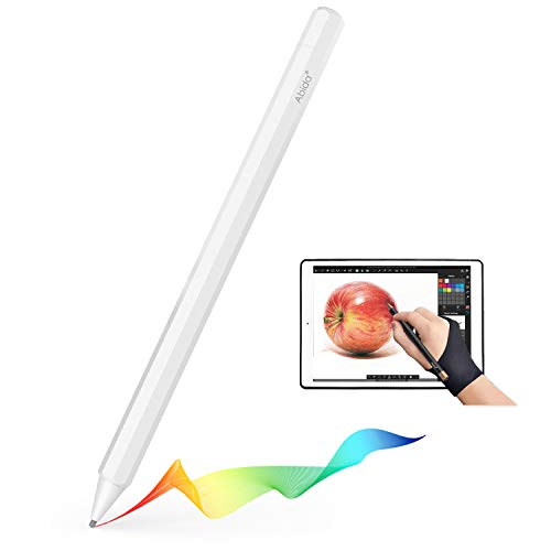 Abida Stylus Compatible for iPad, Touchscreen Pen with A Fiber Fine Tip, Rechargeable, No Need App or Bluetooth for iOS Devices, Replacement for Apple Devices Such as iPad, iPhone, iPad Pro-White