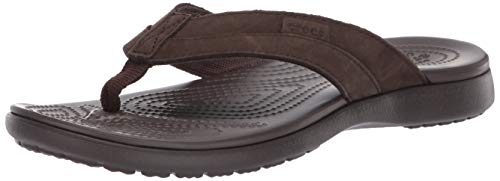 (Crocs Men's Santa Cruz Leather Flip Flop, Espresso, 9 M US)
