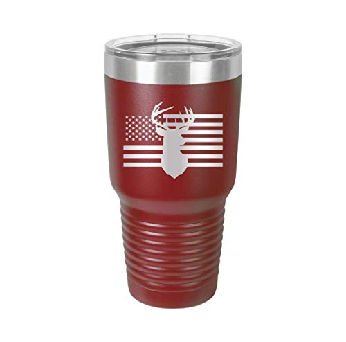 American Flag & Deer - Engraved Tumbler Wine Mug Cup Unique Funny Birthday Gift Graduation Gifts for Men or Women hunt hunting hunter deer gun (30 Ring, ()