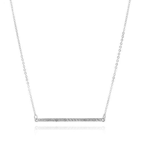 Crystal Sideways Narrow Bar Necklace (Silver Plated)