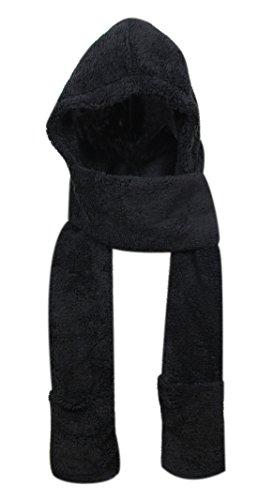 Super Soft Fleece Women's Hooded Scarf & Hat W/Glove Pockets By Bioterti (Black)