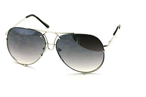 V.W.E. New Large Limited Edition Colorful Gradient Lens Metal Aviator Sunglasses (Gray)