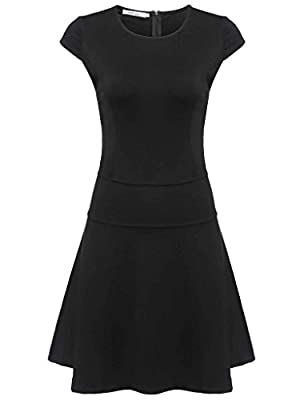 Meaneor Women's Short Sleeve Fit and Flare A-line Dress