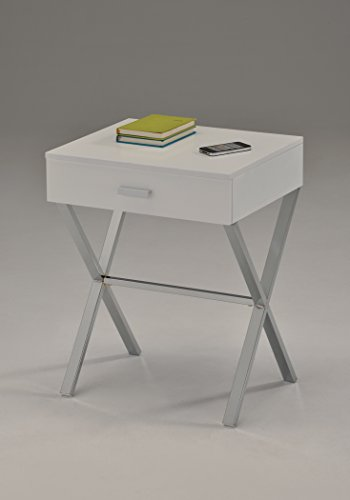 White / Chrome Finish Modern X-Shape Accent Side End Table N