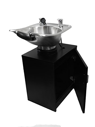 TILTING Brushed Stainless Steel Salon Shampoo Bowl with Black Cabinet Spa Equipment TLC-1567Tilt-C by eMark Beauty