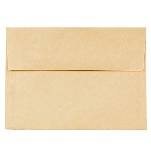 JAM PAPER A7 Parchment Invitation Envelopes - 5 1/4 x 7 1/4 - Antique Gold Recycled - 50/Pack ()