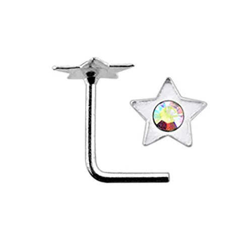 Rainbow Jeweled Flat Star Top 22 Gauge Silver L Shape - L Bend Nose Stud Nose Pin ()