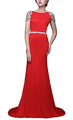 Rongstore Women's Long Evening Dresses Cap Sleeves Mermaid Party Prom