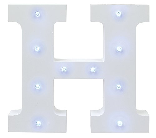 Creative Hobbies® Decorative Light Up Wooden Alphabet Letter, 6.25 Inch Tall, White MDF, with Battery Operated LED Lights, Letter H