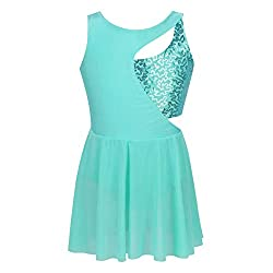 Girls Sequins Gymnastics Tank Leotard In Turquoise