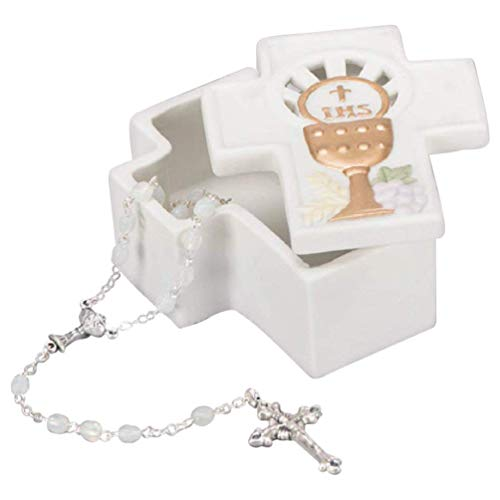 Cross Shape And Gold Tone Chalice Ivory 3.25 x 2.75 Porcelain Memory Trinket Box - Porcelain Rosary Box
