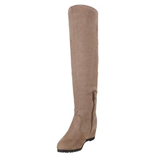 Stiefelparadies Damen Stiefel Strick Schlupfstiefel Wedges Plateau Schuhe Flandell Taupe Zipper