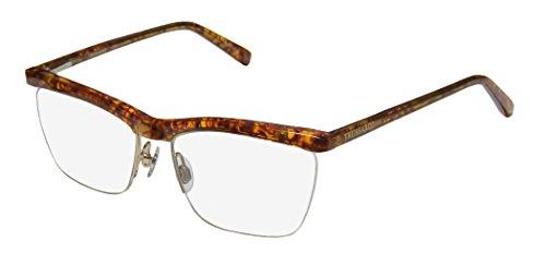 Trussardi 12511 Mens/Womens Rx-able Popular Style Designer Half-rim Spring Hinges Eyeglasses/Eyewear (54-16-135, Amber Pattern / - Style Rim Are Glasses In Half