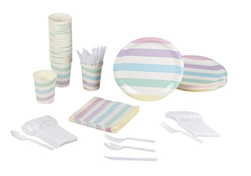Disposable Dinnerware Set - Serves 24 - Birthday Party Supplies, Colorful Stripes Design, Includes Plastic Knives, Spoons, Forks, Paper Plates, Napkins, Cups