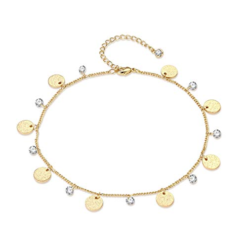 LOYATA Dainty Ankle Bracelet, 14K Gold Plated Tiny Bead Anklet Dainty White Cubic Zirconia Moon Tassel Foot Chain Lucky Beach Foot Jewelry Boho Anklets for Women (Moon)