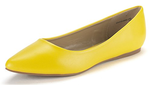 - DREAM PAIRS Sole Classic Women's Casual Pointed Toe Ballet Comfort Soft Slip On Flats Shoes Yellow PU Size 11