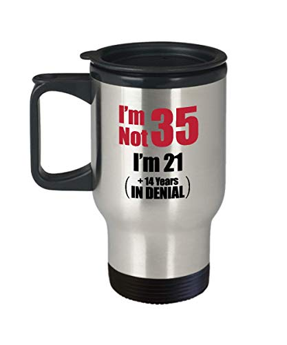 35th Birthday Travel Coffee Mug - 35 Year Old Birthday Funny Gift Ideas Him Her - Thirty Five Years Age Men Women