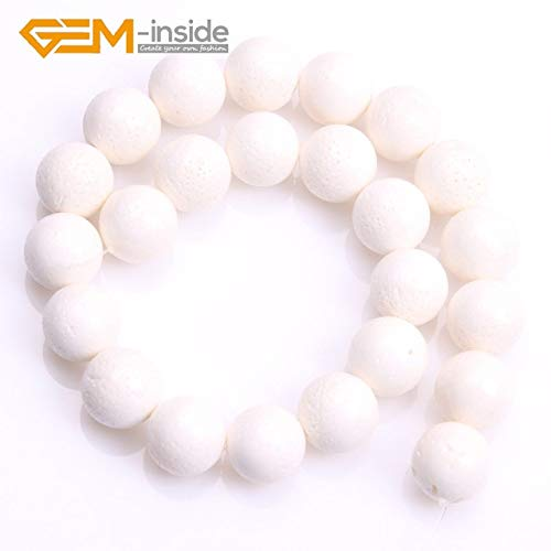 Calvas 10/12/14/16/18/20mm GEM-Inside White Natural Sponge Coral Gem Stone Round Beads for Jewelry Making DIY Gifts 15