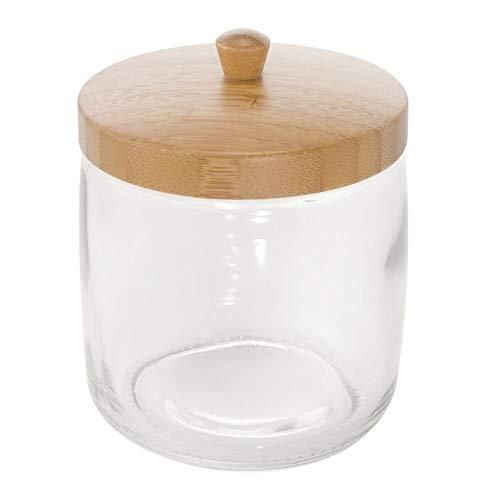 mDesign Glass Bathroom Vanity Storage Organizer Canister Jar for Cotton Balls, Swabs, Beauty Blenders, Makeup Sponges…