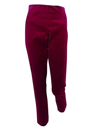 (LAUREN RALPH LAUREN Womens Keslina Velvet Flat Front Skinny Pants Purple 10)