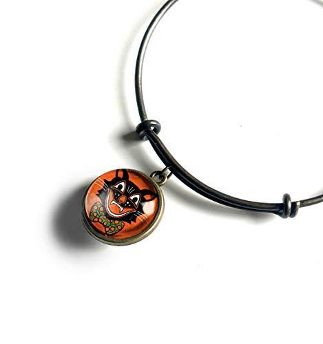 Retro Halloween Black Cat Charm Bracelet