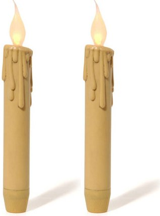 - Set of 2 Battery Operated Antique Look LED Drip Look Taper Candles