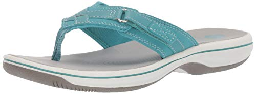 Clarks Women's Breeze Sea Flip-Flop, aqua synthetic, 7 M US