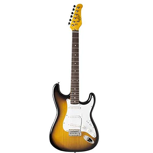 (Oscar Schmidt 6 String Double Cutaway 3/4 Size Electric Guitar. Tobacco Sunburst)