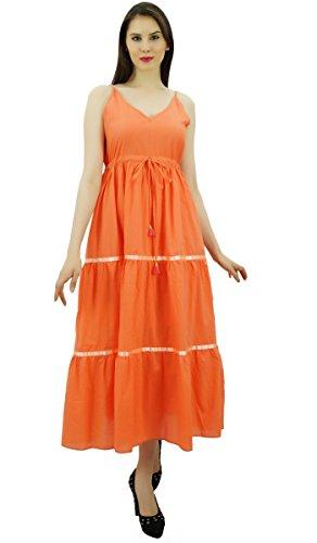 Robes Longues Robe D'été Sangle Spaghetti Taille Coulissée Maxi Orange Femmes Bimba