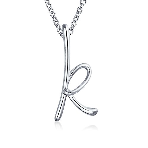 Silver Initial Sterling Pendant (Letter K Cursive Alphabet Script Initial Pendant Necklace For Women 925 Sterling Silver 18 inches)